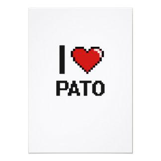 I Love Pato Digital Retro Design 5x7 Paper Invitation Card