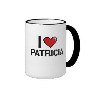 I Love Patricia Digital Retro Design Ringer Coffee Mug