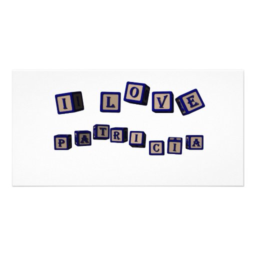 I love Patricia toy blocks in blue Personalized Photo Card