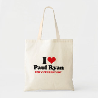 I LOVE PAUL RYAN FOR VICE PRESIDENT.png Budget Tote Bag
