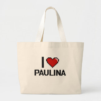 I Love Paulina Digital Retro Design Jumbo Tote Bag