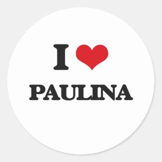 I Love Paulina Classic Round Sticker