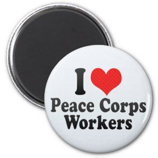 I Love Peace Corps Workers 2 Inch Round Magnet