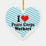 I Love Peace Corps Workers Double-Sided Heart Ceramic Christmas Ornament