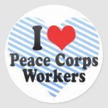 I Love Peace Corps Workers Round Stickers