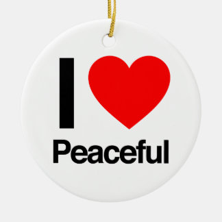 i love peaceful Double-Sided ceramic round christmas ornament
