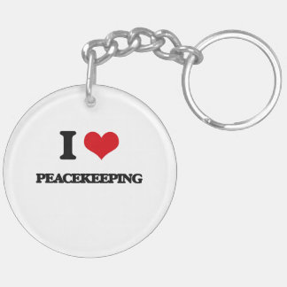 I Love Peacekeeping Double-Sided Round Acrylic Keychain