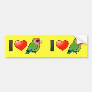 I Love Peach-faced Lovebirds Bumper Sticker