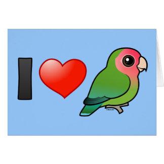 I Love Peach-faced Lovebirds Greeting Cards