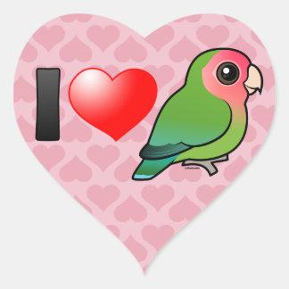 I Love Peach-faced Lovebirds Heart Sticker