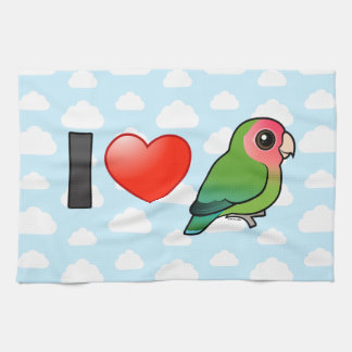 I Love Peach-faced Lovebirds Kitchen Towels
