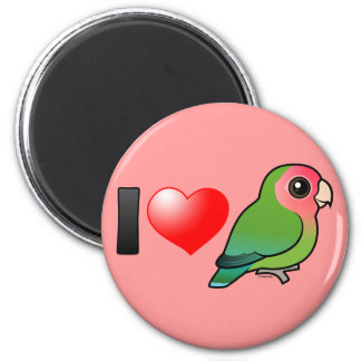 I Love Peach-faced Lovebirds 2 Inch Round Magnet