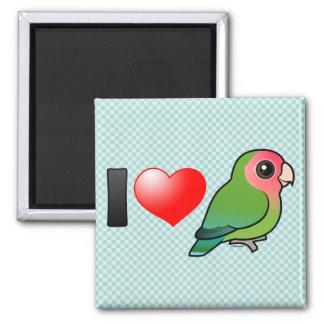 I Love Peach-faced Lovebirds 2 Inch Square Magnet