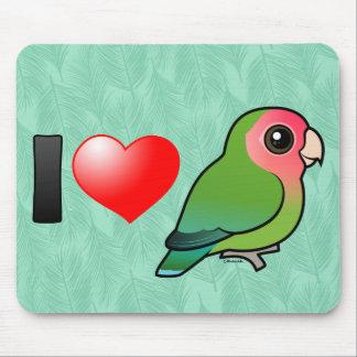 I Love Peach-faced Lovebirds Mousepads