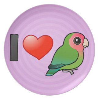 I Love Peach-faced Lovebirds Party Plates