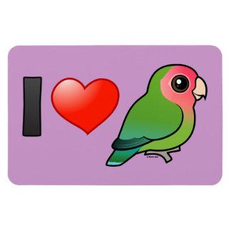I Love Peach-faced Lovebirds Rectangular Photo Magnet