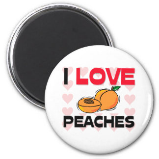I Love Peaches 2 Inch Round Magnet