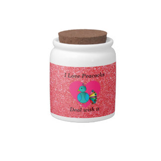 I love peacocks pink glitter candy jars