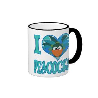 I Love peacocks Ringer Coffee Mug