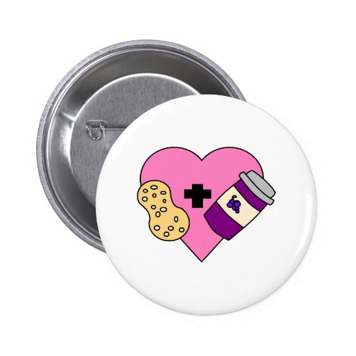 I love Peanut Butter and Jelly 2 Inch Round Button