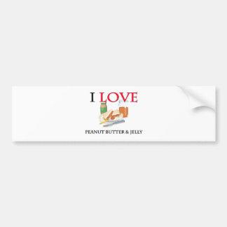 I Love Peanut Butter & Jelly Bumper Sticker