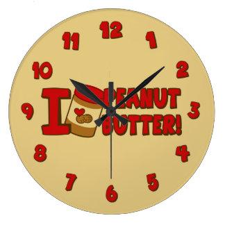 I Love Peanut Butter Large Clock
