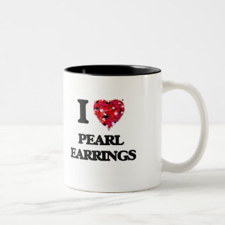 I love Pearl Earrings Two-Tone Coffee Mug