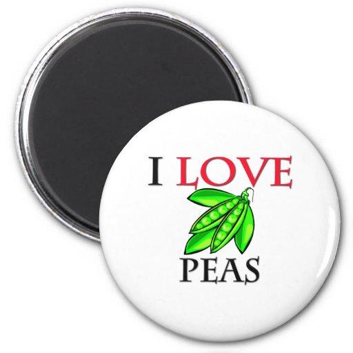 I Love Peas 2 Inch Round Magnet