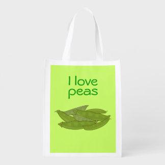 I Love Peas Bag for Gardener Vegetarian Vegan Grocery Bags
