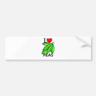 I Love Peas Car Bumper Sticker