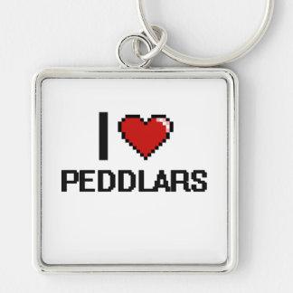 I love Peddlars Silver-Colored Square Keychain