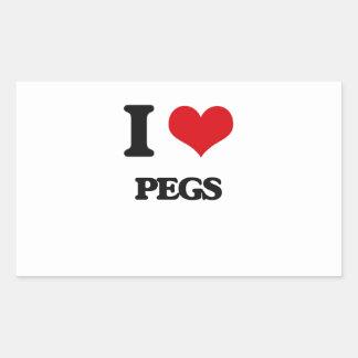 I Love Pegs Rectangular Sticker