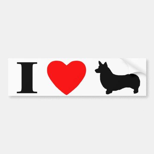 I Love Pembroke Welsh Corgis Bumper Sticker Car Bumper Sticker
