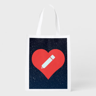 I Love Pencil Sharpeners Design Reusable Grocery Bags