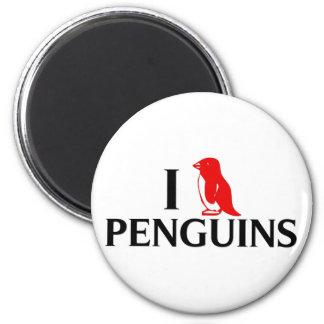 I Love Penguins 2 Inch Round Magnet