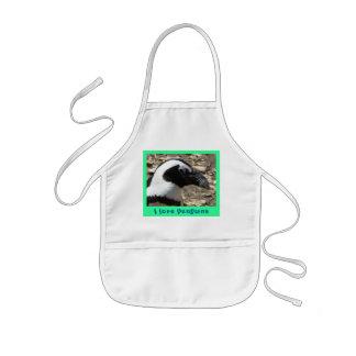 I love penguins kids' apron
