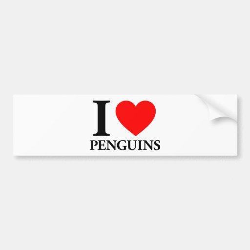 I Love Penguins Car Bumper Sticker
