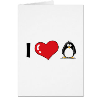 I Love Penguins Greeting Card
