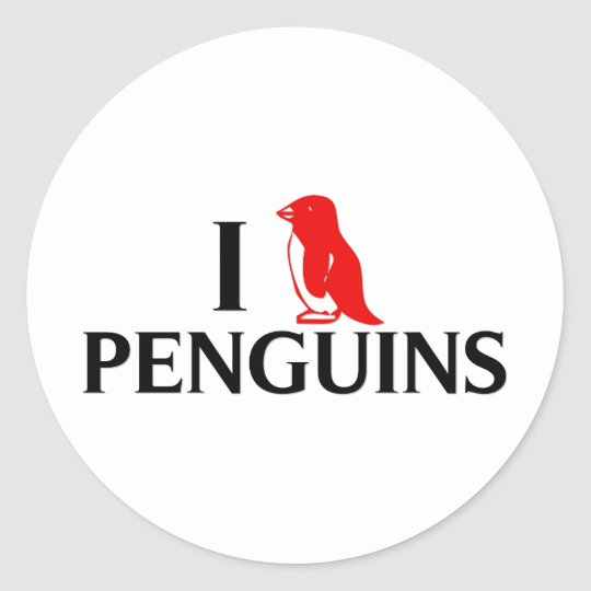 I Love Penguins Classic Round Sticker