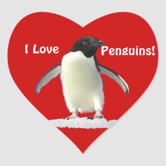 I LOVE PENGUINS Cute Heart Stickers
