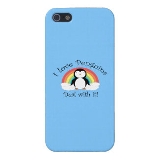 I love penguins deal with it rainbow blue covers for iPhone 5