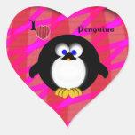 I Love Penguins Heart Sticker
