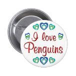 I Love Penguins Pinback Buttons