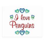 I Love Penguins Post Cards