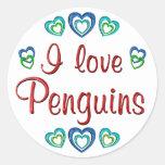 I Love Penguins Round Sticker
