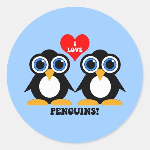 I love penguins round stickers