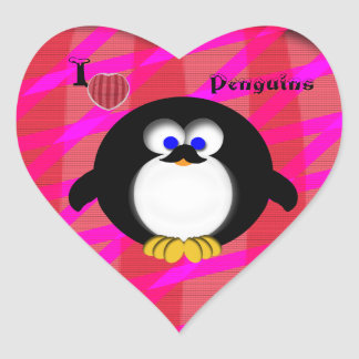I Love Penguins Heart Stickers
