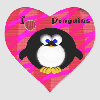 I Love Penguins Stickers
