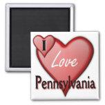 I Love Pennsylvania 2 Inch Square Magnet