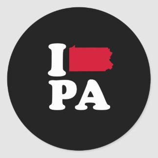 I LOVE PENNSYLVANIA -- CLASSIC - Map Design -.png Classic Round Sticker